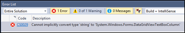 Cannot implicitly convert type 'string' to 'System.Windows.Forms.DataGridViewTextBoxColumn
