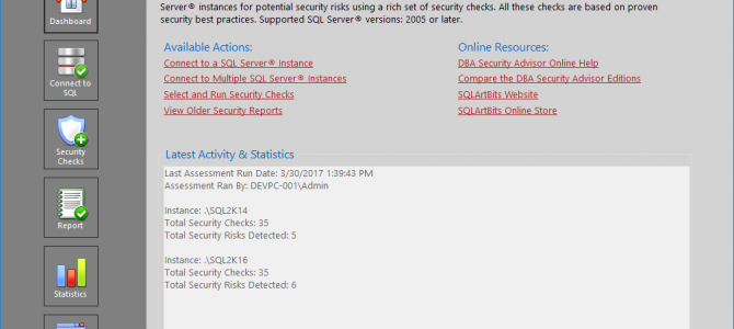 Sneak Peek of SQLArtBits DBA Security Advisor v2.0