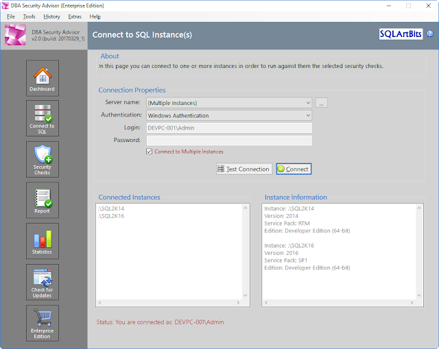 Sneak Peek of SQLArtBits DBA Security Advisor v2.0