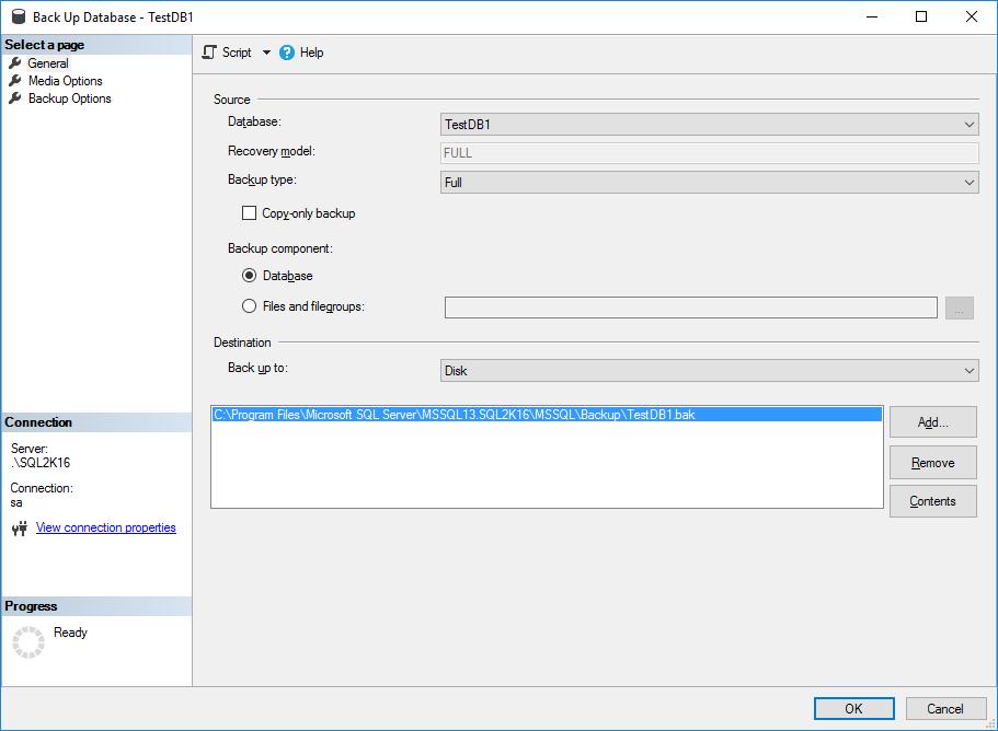 SQL Server Database Backup Encryption - Screen 1