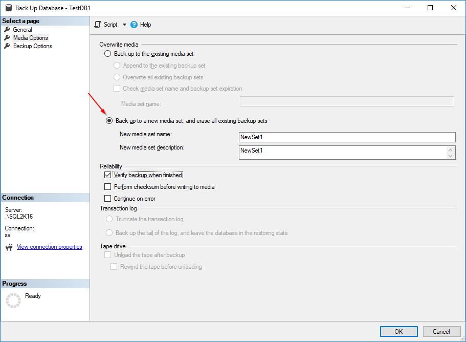 SQL Server Database Backup Encryption - Screen 2