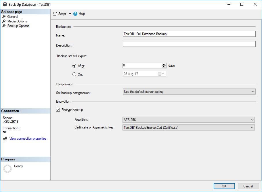 SQL Server Database Backup Encryption - Screen 4