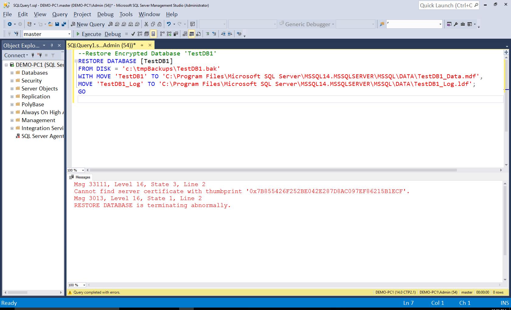 Restoring Encrypted SQL Server Databases