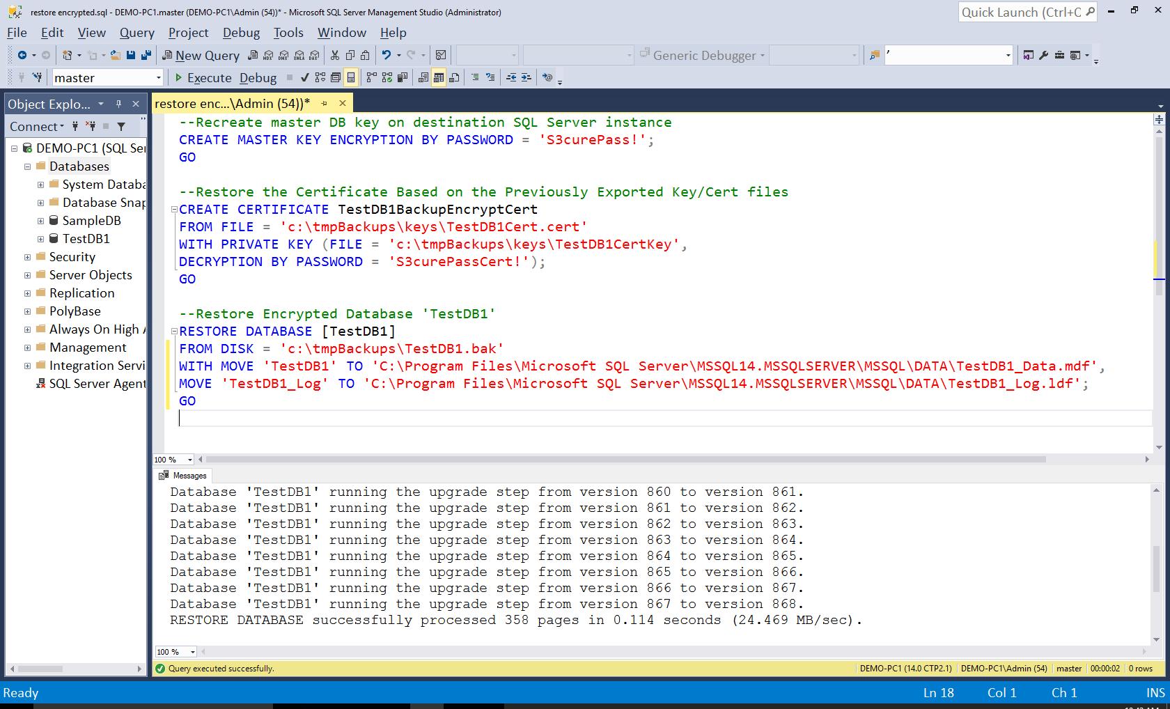 Restoring and Encrypted SQL Server Database