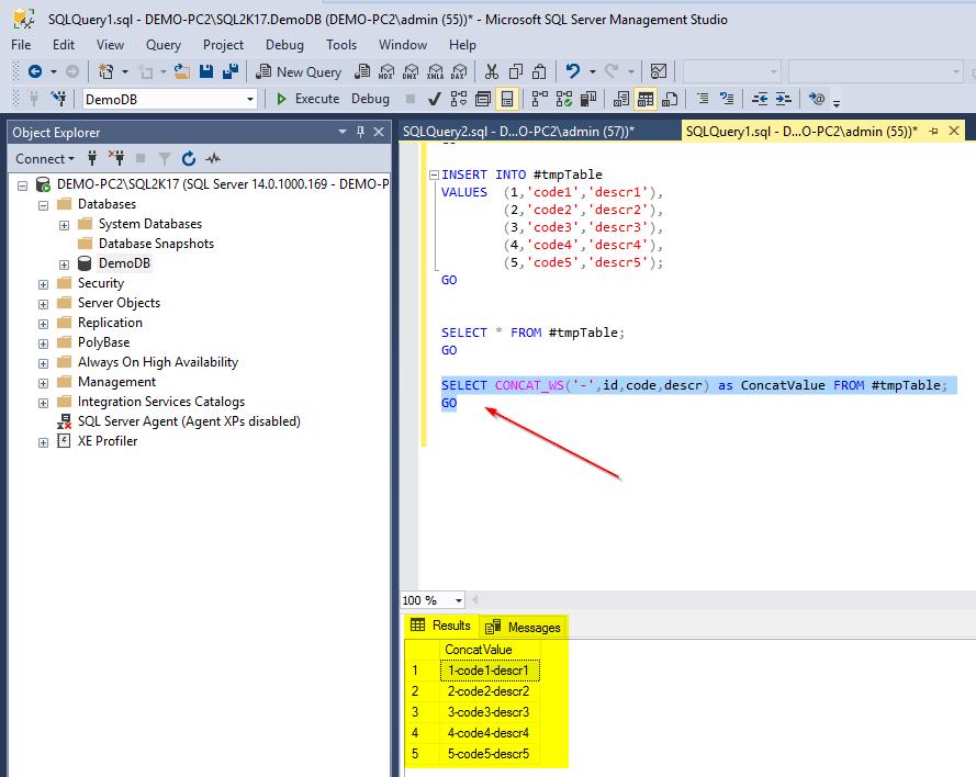 TheCONCAT_WSString Function in SQL Server 2017