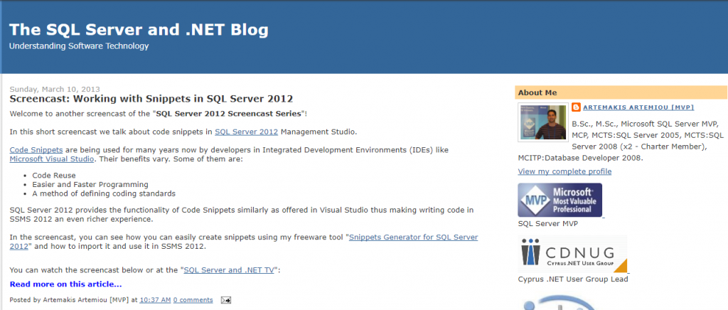 The SQL Server and .NET Blog
