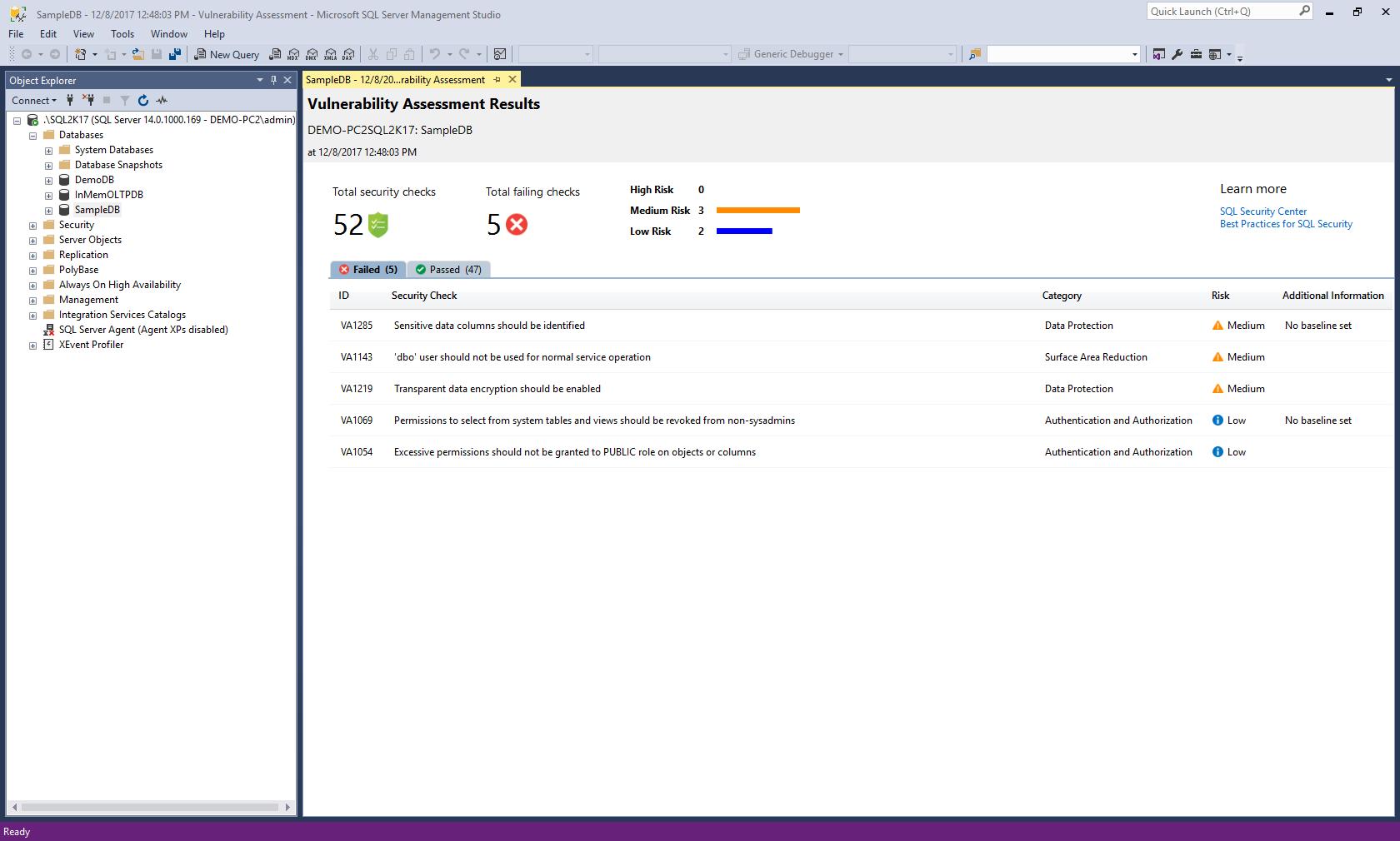 SSMS Vulnerability Assessment Tool