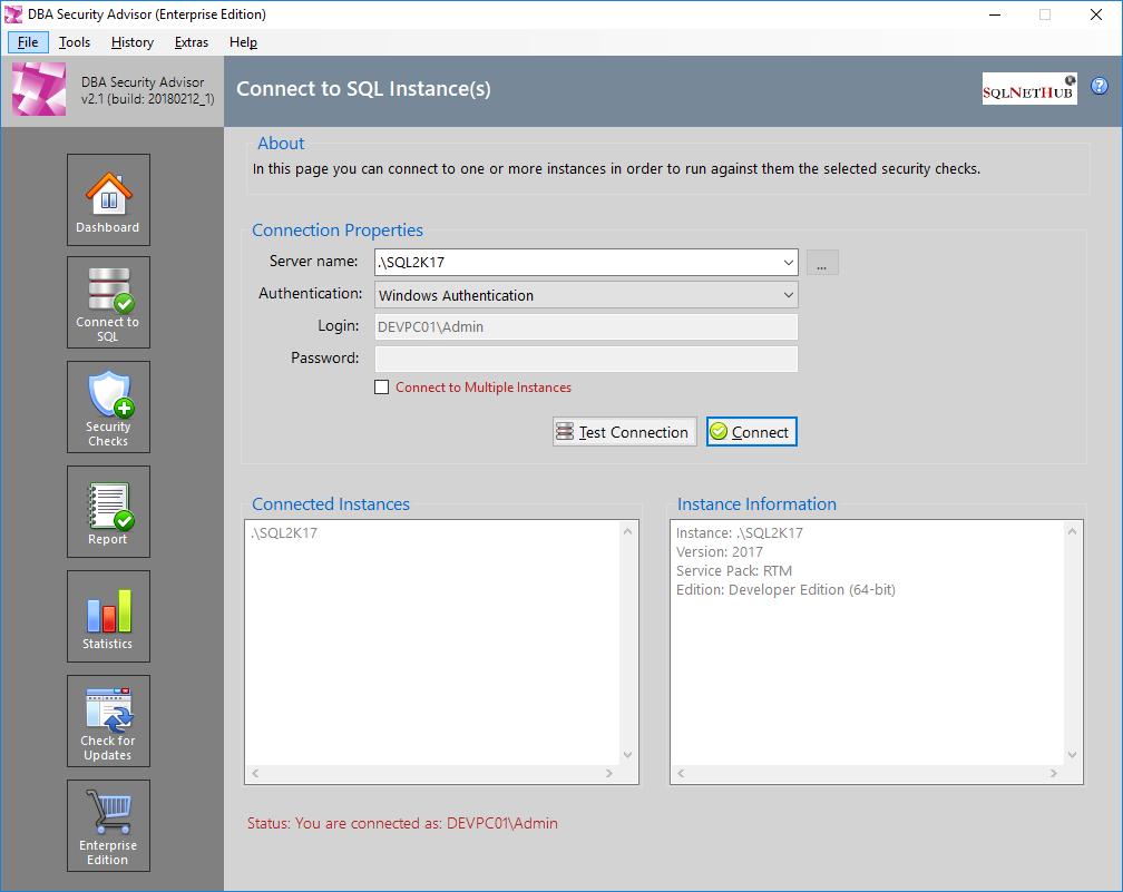 DBA Security Advisor for SQL Server