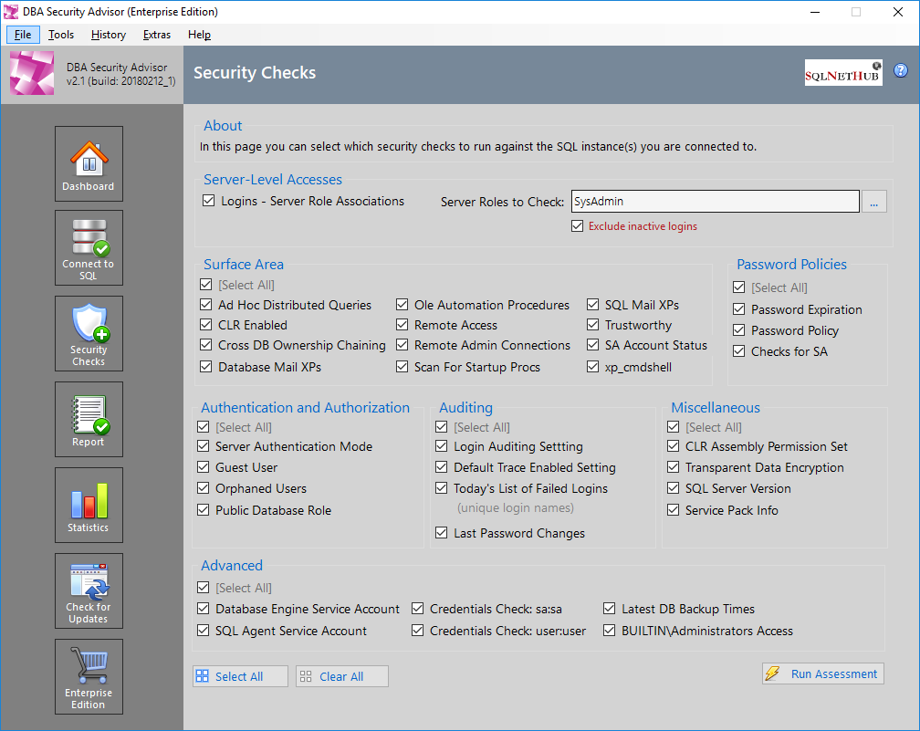 SQL Server Security Tool - DBA Security Advisor