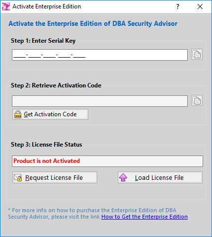 DBA Security Advisor - Activation