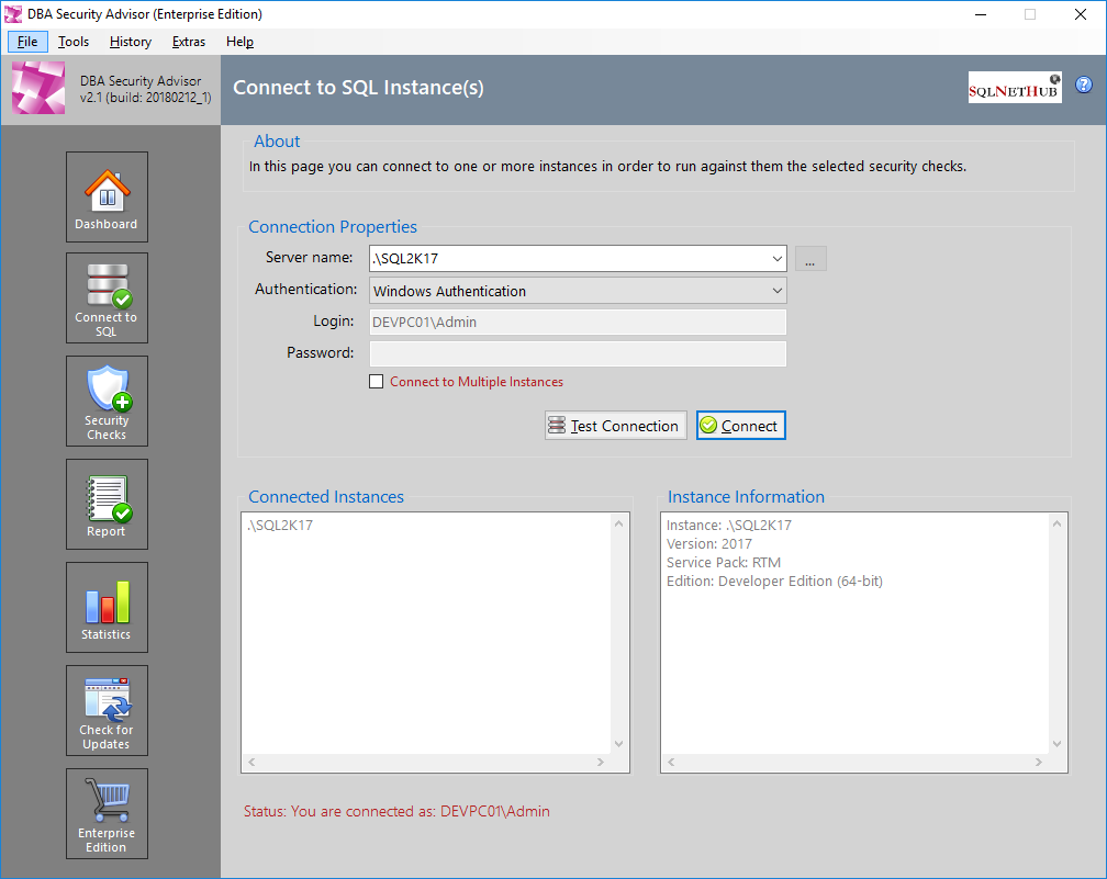 SQL Server Security Tool - DBA Security Advisor by SQLNetHub