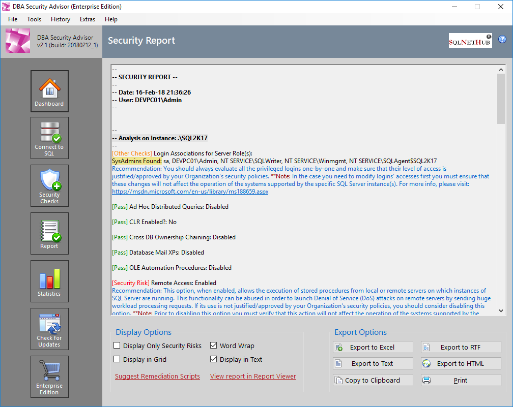 SQL Server Security Tool - DBA Security Advisor - Security Checks