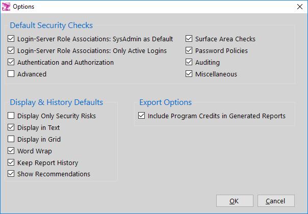 DBA Security Advisor - Options