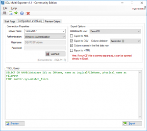 SQL Multi-Exporter - Software Tool on SQLNetHub