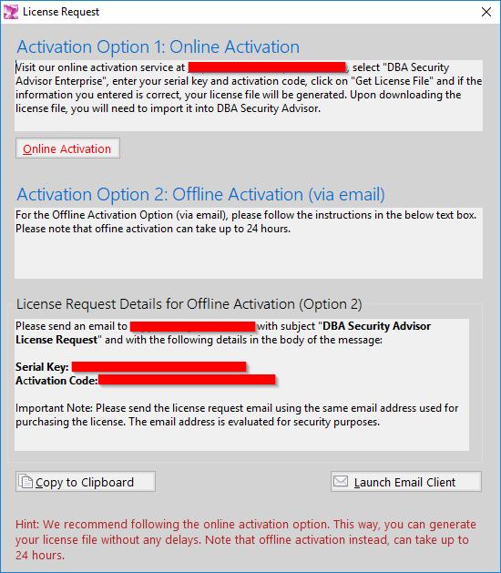 DBA Security Advisor - Activation