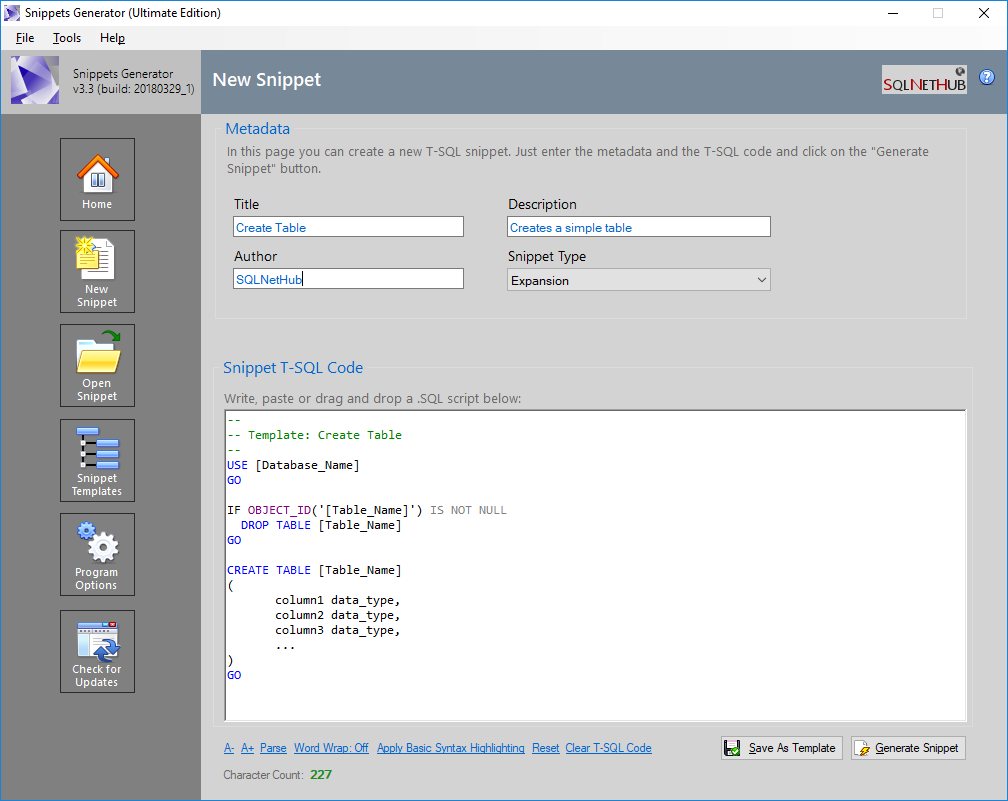 Easily create T-SQL code snippets for SSMS with Snippets Generator by SQLNetHub