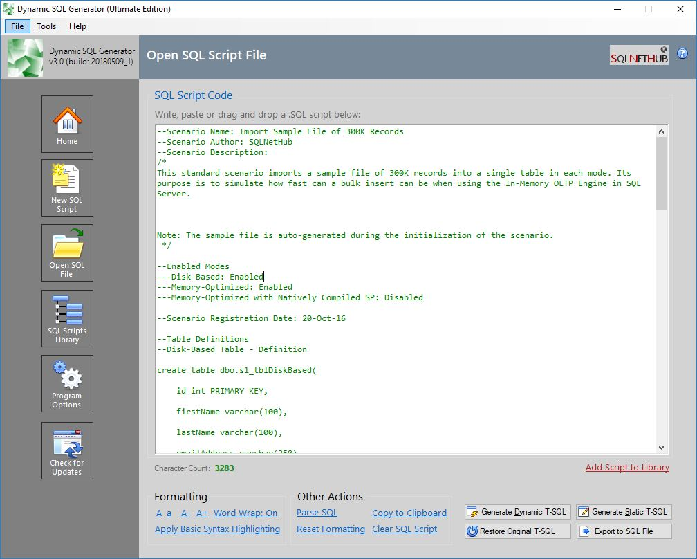Screenshot: Dynamic SQL Generator - Opening a .sql File