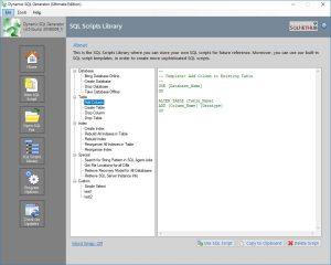 Dynamic SQL Generator: SQL Scripts Library