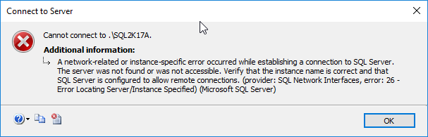 Article on SQLNetHub: A network-related or instance-specific error occurred while establishing a connection to SQL Server.