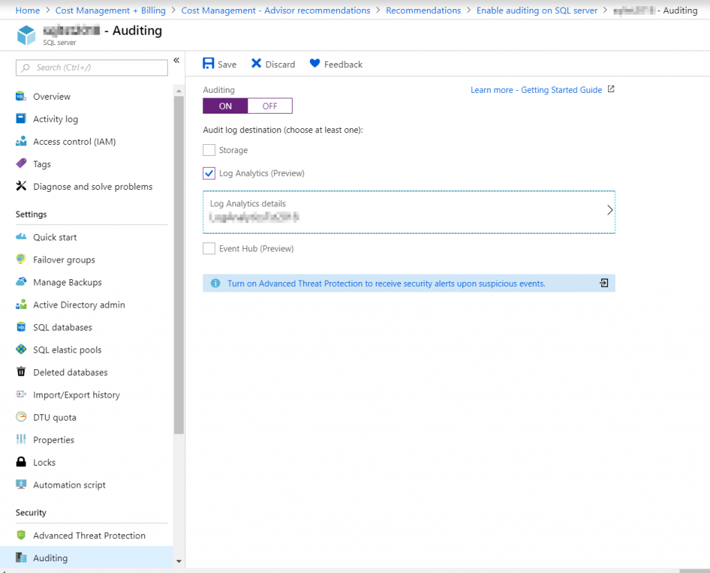 Enabling Auditing in Azure SQL Database - SQLNetHub