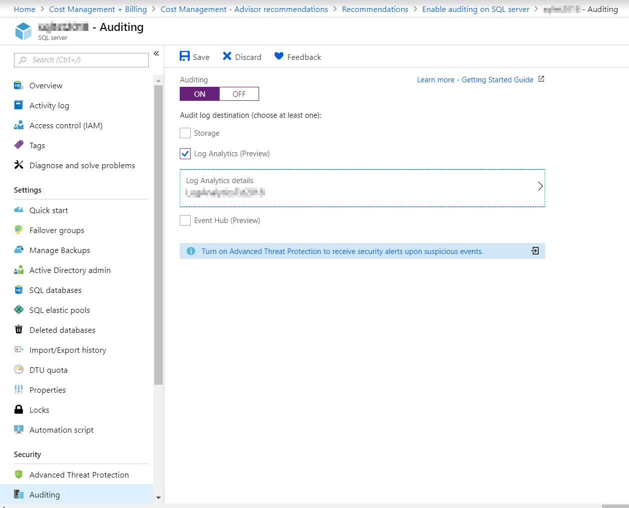Enabling Auditing in Azure SQL Database - SQLNetHub