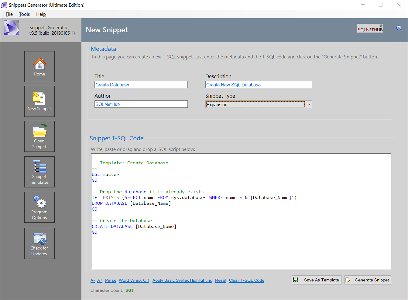 Screenshot: Snippets Generator v3.5 - Creating a New Snippet.