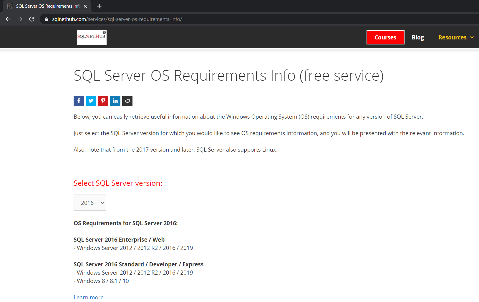 SQL Server OS Requirements Info - Free Service on SQLNetHub