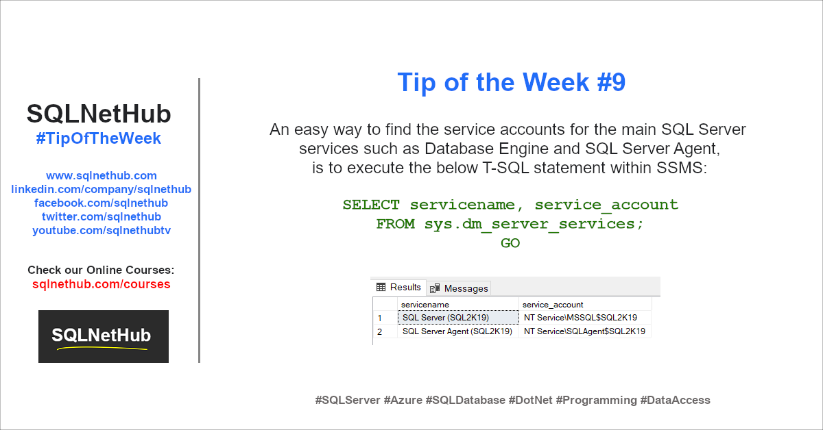 SQLNetHub Tip of the Week 9 - SQL Server Service Account Info using T-SQL