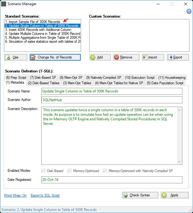 In-Memory OLTP Simulator - Scenario Manager
